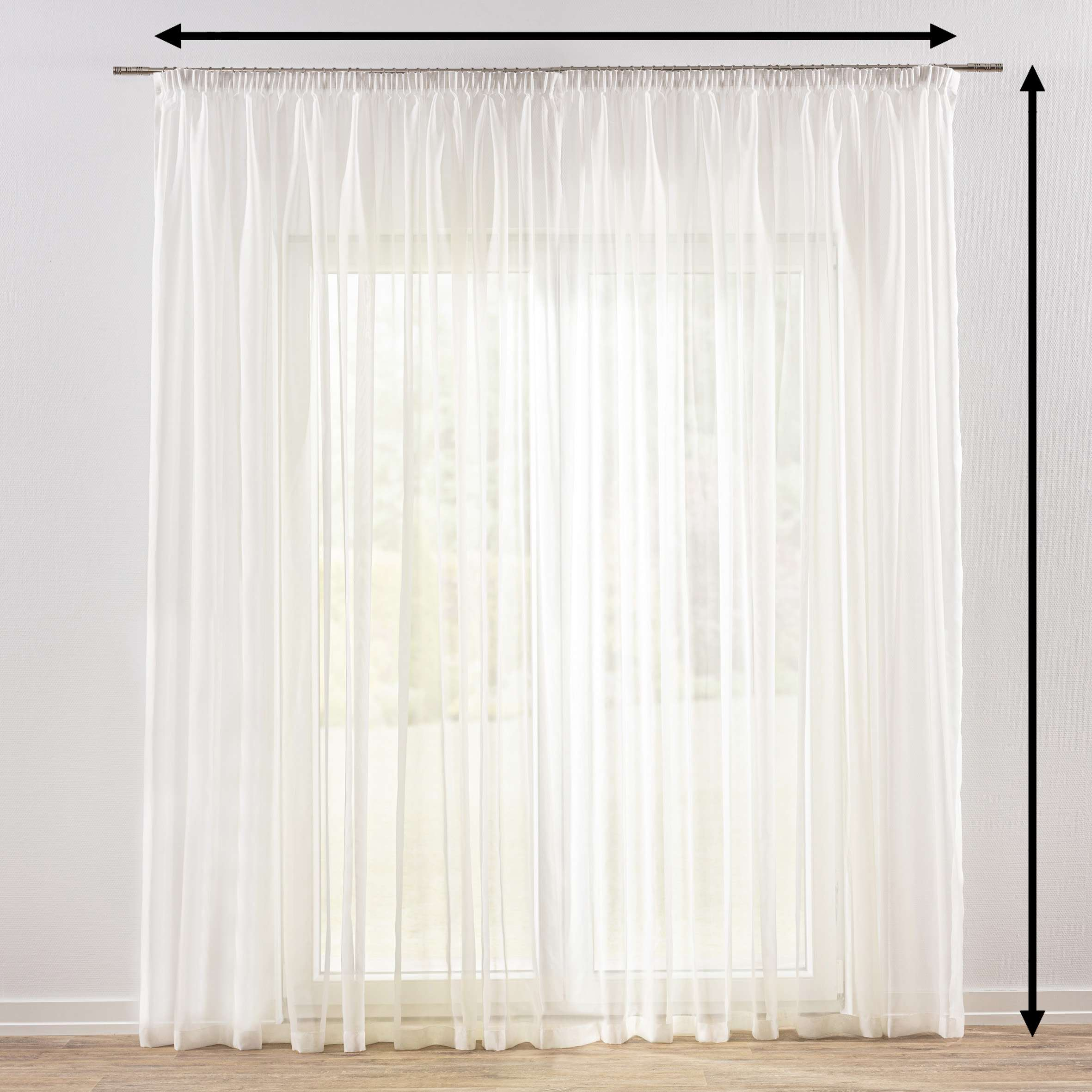 Pencil pleat voile/net curtain in collection Voile, fabric: 900-01