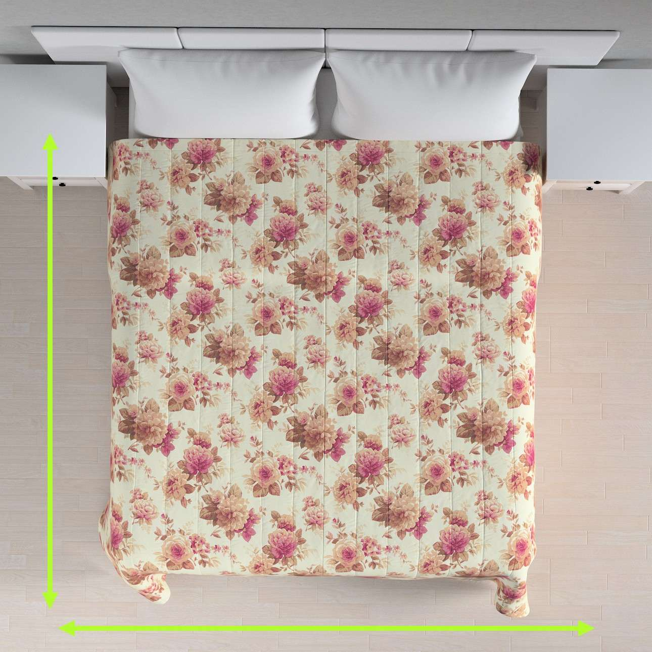 Sengetæppe quiltet<br/>10cm striber fra kollektionen Londres, Stof: 141-06