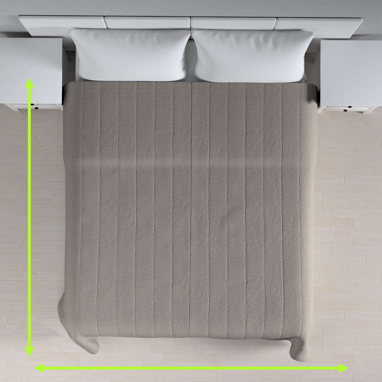 Sengetæppe quiltet<br/>10cm striber fra kollektionen Edinburgh, Stof: 115-77