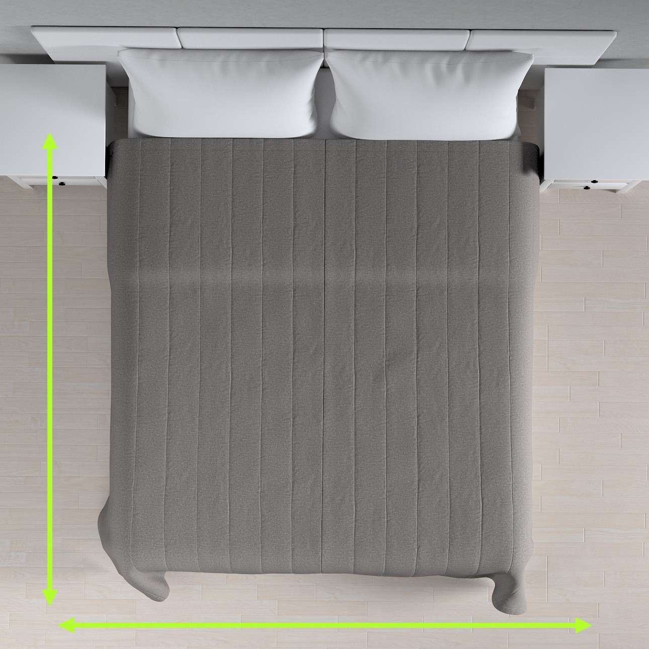 Sengetæppe quiltet<br/>10cm striber fra kollektionen Edinburgh, Stof: 115-81
