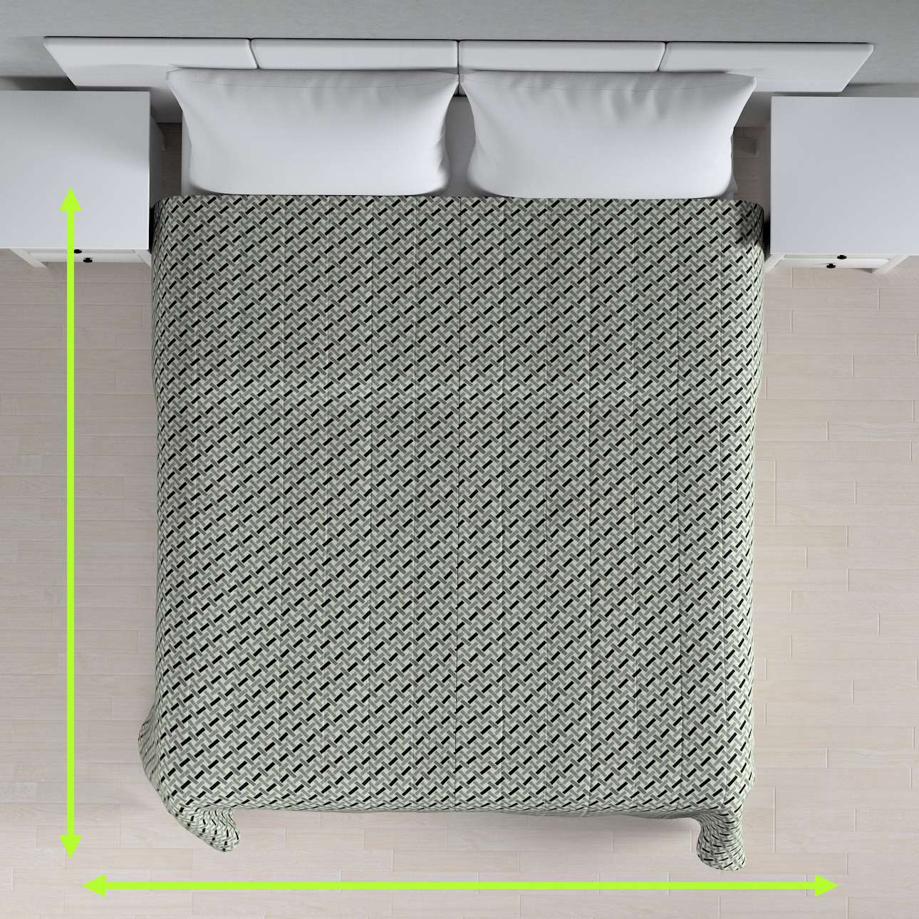 Sengetæppe quiltet<br/>10cm striber fra kollektionen Black & White, Stof: 142-78