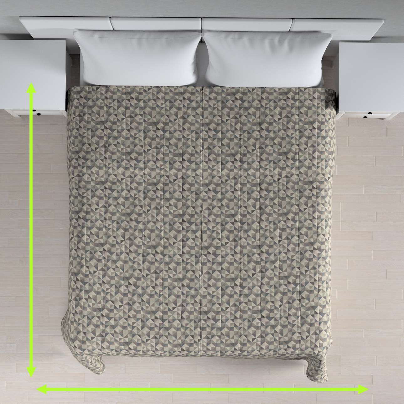Sengetæppe quiltet<br/>10cm striber fra kollektionen Retro Glam, Stof: 142-84