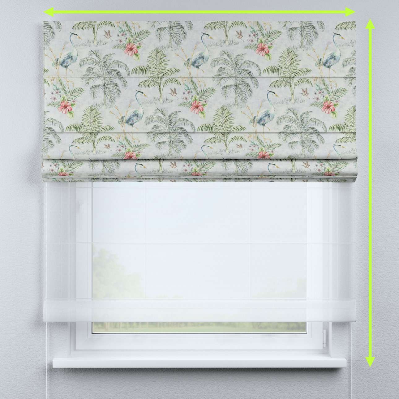 Voile and fabric roman blind (DUO II) in collection Tropical Island, fabric: 142-58