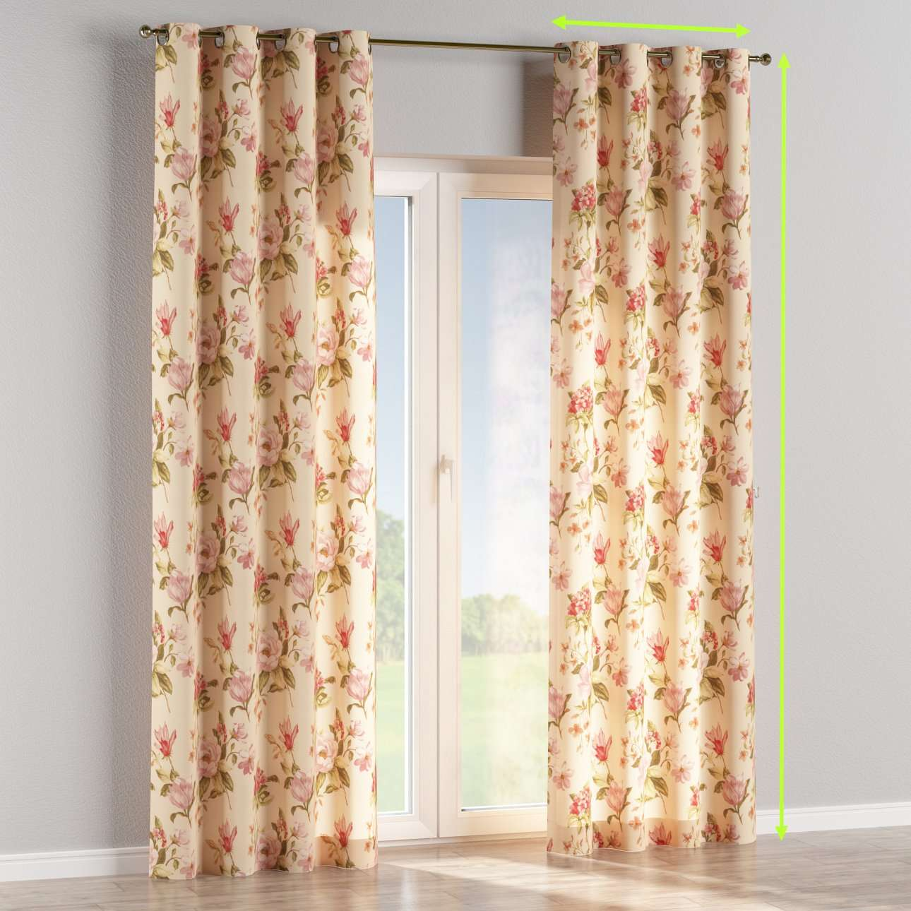 Eyelet lined curtains in collection Londres, fabric: 123-05