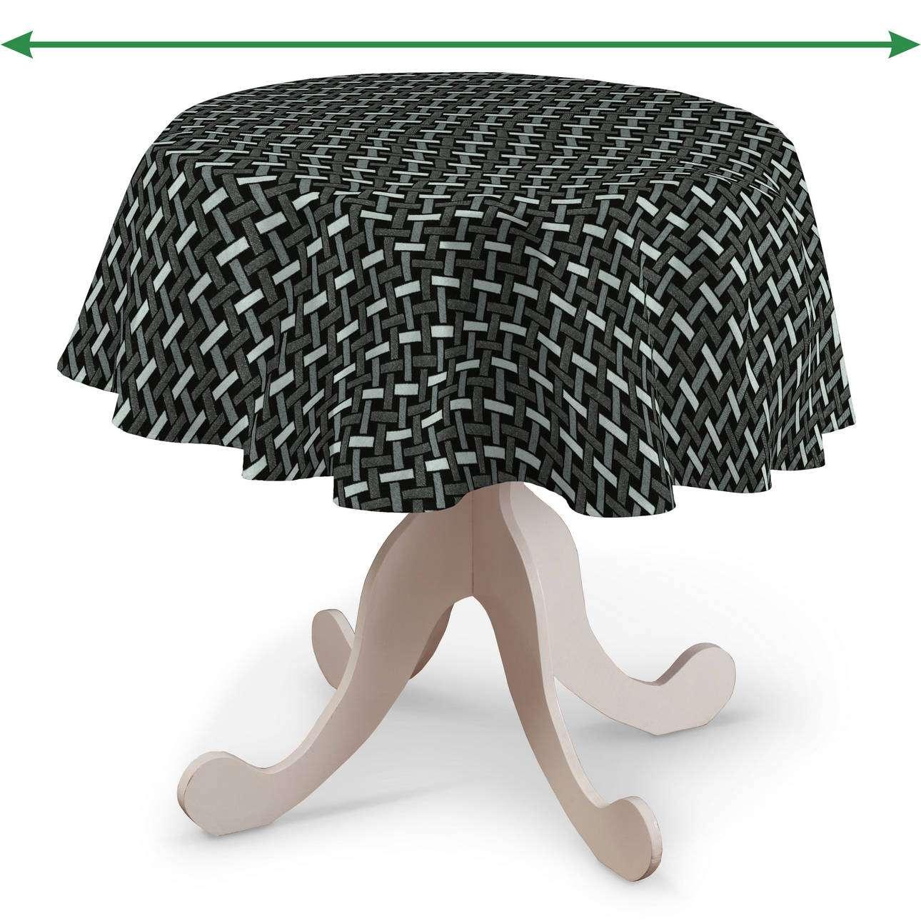 Round tablecloth in collection Black & White, fabric: 142-87