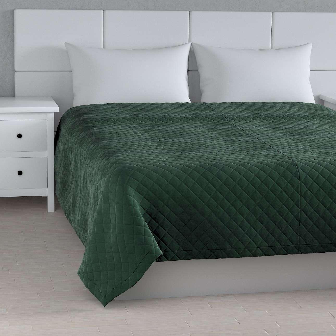Sengetæppe quiltet<br/>i rombe i volour fra kollektionen Velvet, Stof: 704-25