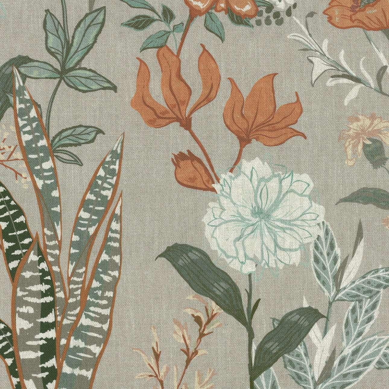 Podnóżek okrągły natural w kolekcji Flowers, tkanina: 143-70